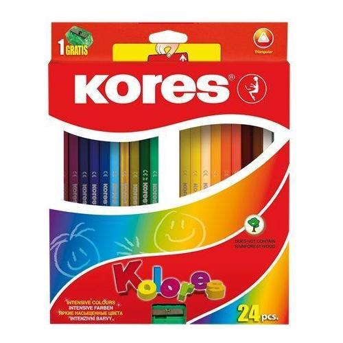 KORES háromszögtestű színes ceruza készlet, 24 színű