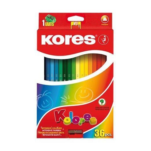 KORES háromszög testű színes ceruza készlet, 36 színű