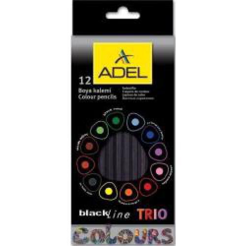 ADEL blackLine TRIO színes ceruza készlet, 12 színű, fekete