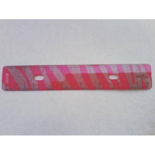 Balkezes vonalzó, 15 cm-es, pink-zebra